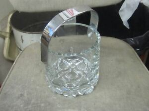 1970s STAINLESS STEEL HANDLE HEAVY CRYSTAL GLASS ICE BUCKET $10