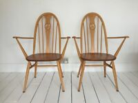 Pair of Ercol Quaker swan carver armchairs dining chairs