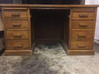 Large vintage solid oak pedestal leather top desk