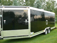 enclosed extra height cargo trailer-moving-side by side-vnose-