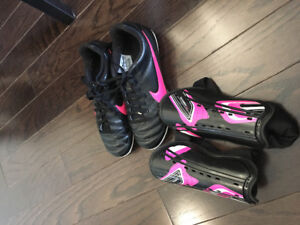 Kids Soccer Shoes and Shin Pads