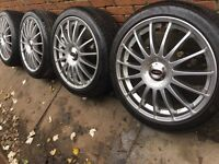 "New 18"" Team Dynamics Monza alloy wheels +new 225/40/18 tyres Golf Mk5 mk6 mk7 Passat Audi A3 5x112"