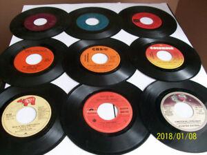 Disques vinyle 45 tours, années '60, '70,'80, 1$ chaque