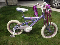 """$80 - Pink Bike 14"""" BMX with Training wheels and Dual Suspension"""