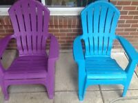 Blue and Purple Muskoka Chairs