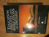 EDUCATION STATUTES AND REGULATIONS OF ONTARIO TEXTBOOK