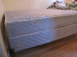 Queen bed- mattress and box spring with metal frame