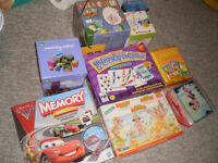 Lot of puzzles, games and stacking boxes