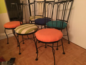 6 Vintage Wrought Iron Ice Cream Parlour Chairs