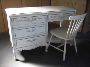 French Provincial Double Bed Frame, Desk and Chair