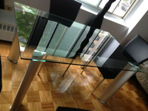 Modern Glass Top Dining Table w/ 4 Modern Black Chairs