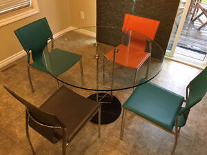 Glass Top Kitchen Table and 8 chairs