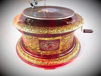 Sammeln & Seltenes Grammophon Graviert Ziseliert Rund Metallic Silber Optik Geschenk Dekoration Antiquitäten & Kunst