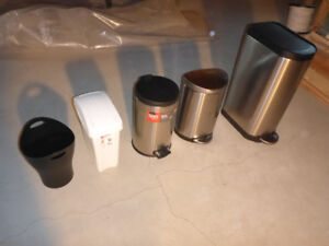 various indoor garbage containers (price varies $15 to $5 each)