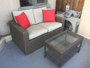 Patio Wicker Love Seat & Matching Table