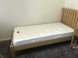 Oak single bed frame and near new sprung mattress