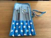 Knitting needles 15 pairs various sizes in roll up case .