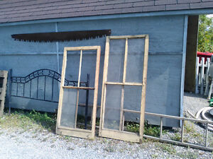 Antique Wooden Window Frames, Crates And Ladders.