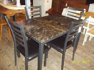 Table Set with Four Metal Chairs with Leather Cushion Seats