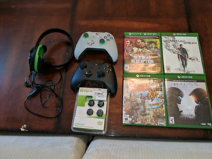 Xbox one X with  2 controllers 4 games