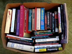 Big box of 34 assorted books; non-fiction and fiction