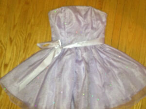 Lavender strapless party dress