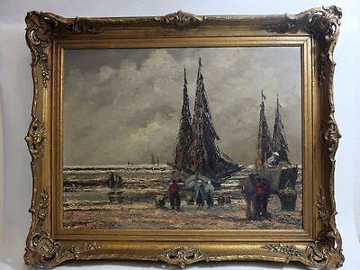 Düsseldorfer Schule expressionistisch Ölgemälde Segelschiffe FischerJean Coune