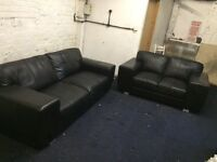 Black leather 3+2 sofas (free delivery)