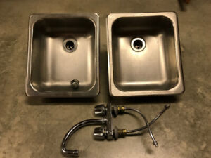 Two Stainless Bar Sinks