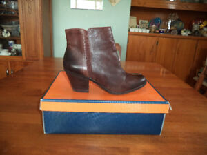 Ladies brown leather designer ankle boots