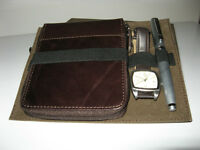 Wallet, watch and pen set