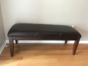 Wood and faux leather bench