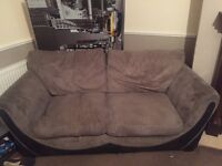 2 x 6ft 2 seater sofas grey and black