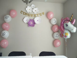 Bridal shower decor - pink and white balloons (already inflated)