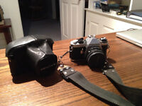 35mm camera, electronic flash, zoom, battery charger and bag