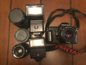 SOLD Pentax P3N 35 mm film camera, lenses, 2 flashes