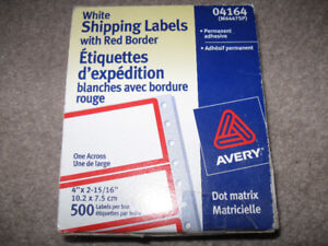"White Shipping Labels with Red Border 500 labels 4"" x 2 15/16"" +"