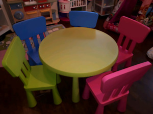 5 chaises/table MAMMUT pour enfants/5 chairs and table for kids