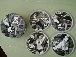 Pinup Cork Drink Coaster Set w/Tin