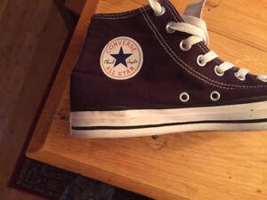 converse mens sneakers purple high top size 9 or women sz 11