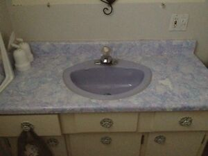 Free lilac sink with faucet and vanity AND matching toilet.