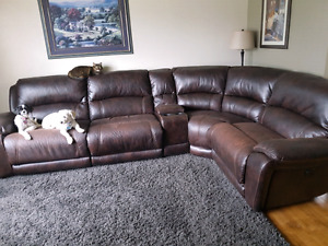 Real Brown Leather Reclining Sectional Couch