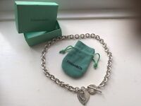 Genuine Tiffany & Co silver heart toggle link necklace