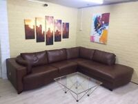 Deluxe Brown Leather Corner Sofa