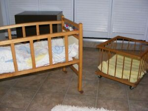 Child's toy crib and bed
