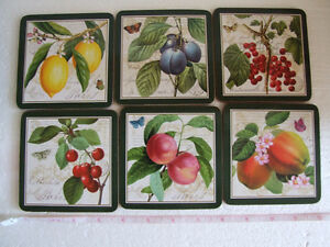 Brand new in box fruits theme cork backed set of 6 coasters London Ontario image 1