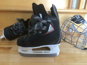 Boy Hockey Skates and Helmet