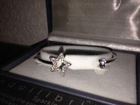 Equilibrium Sparkle Silver Plated Star Bracelet