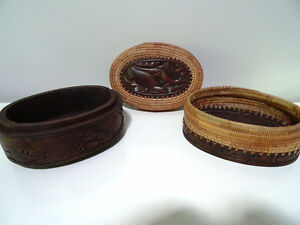 DOUBLE TIER basket lidded TURTLE LIZARD FISH carved INDONESIAN Cambridge Kitchener Area image 7