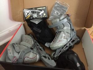 Womens Size 7 Rollerblades + Wrist and elbow pads, worn once